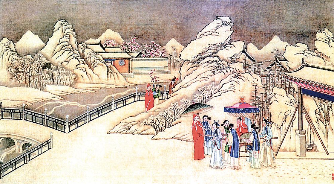 圖為清代孫溫繪製《紅樓夢》圖畫之琉璃世界白雪紅梅(公有領域)