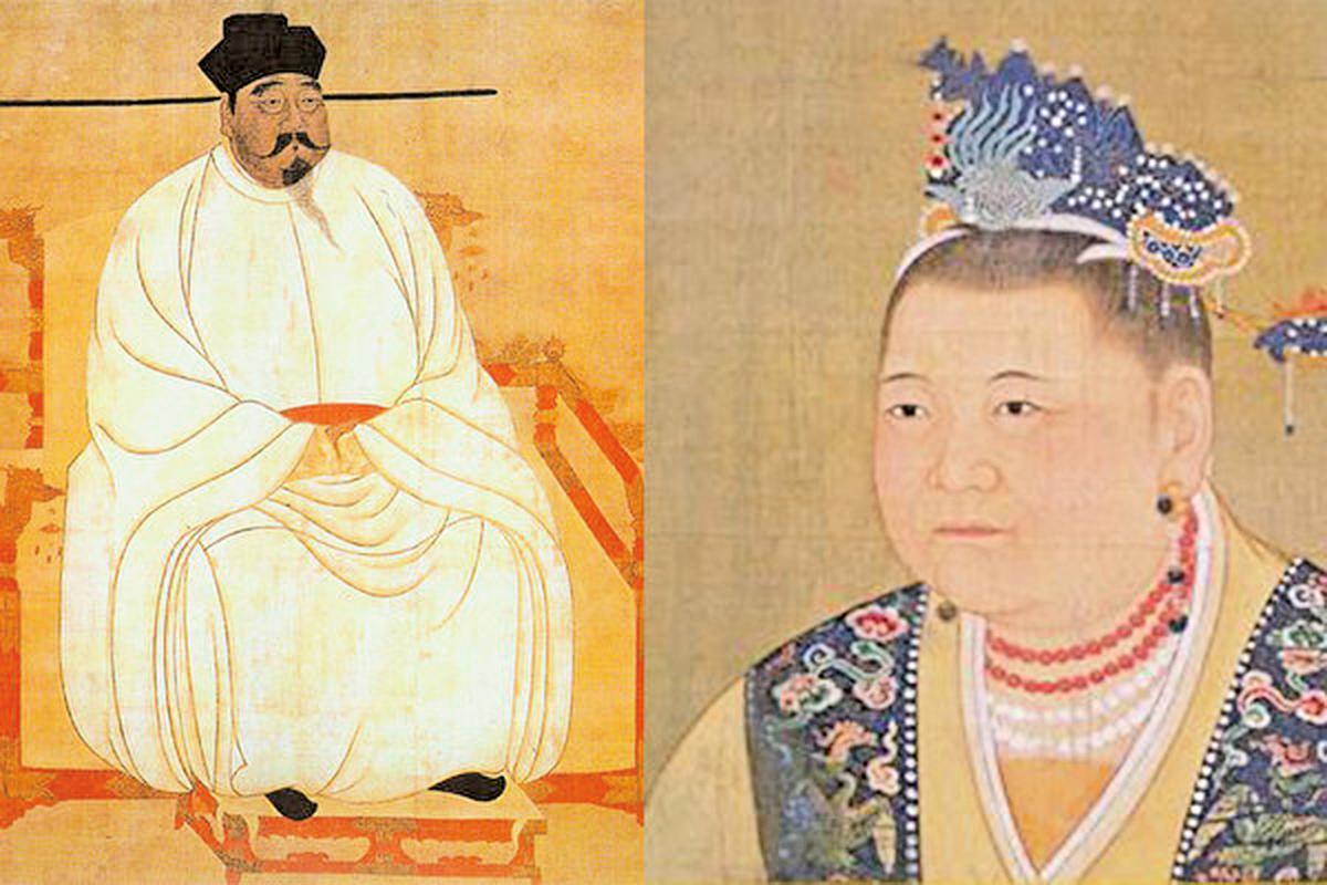 杜太后從大局出發,希望宋太祖將皇位傳於親弟弟。圖為宋太祖(左)和杜太后(右)畫像。(公有領域/大紀元合成)