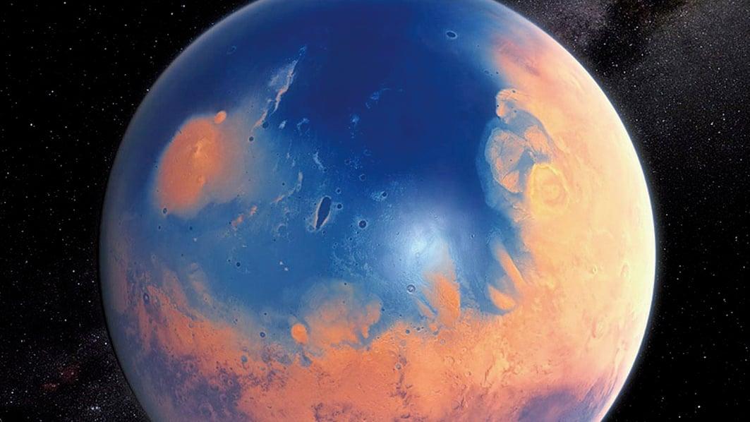 藝術家筆下、數十億年前的火星表面存在大量的水。(ESA)