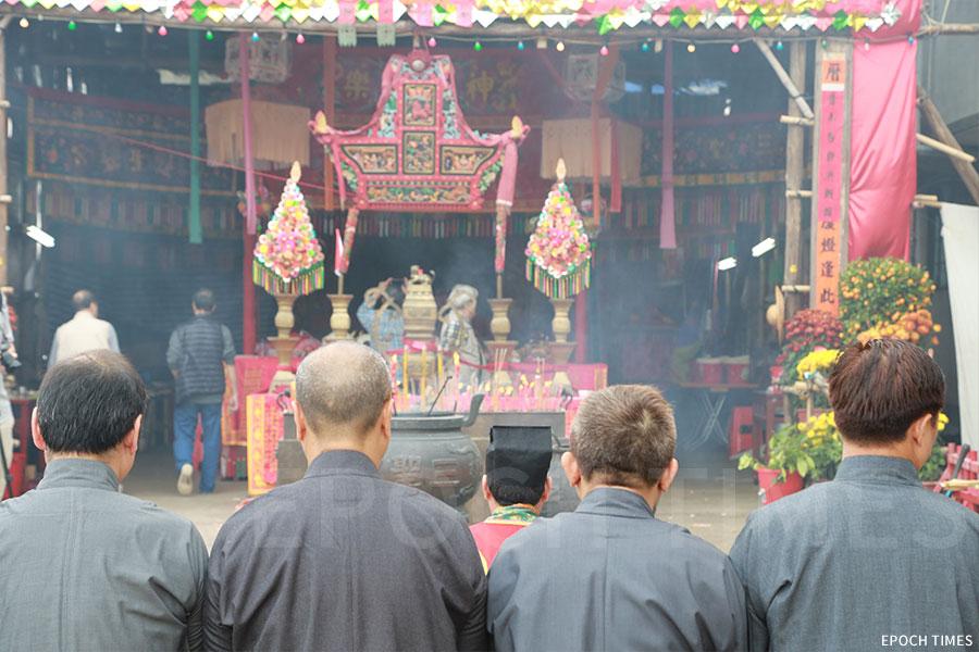 「神頭」在粉嶺圍的儀式中擔任重要角色,彭氏後人以此為榮。(陳仲明/大紀元)