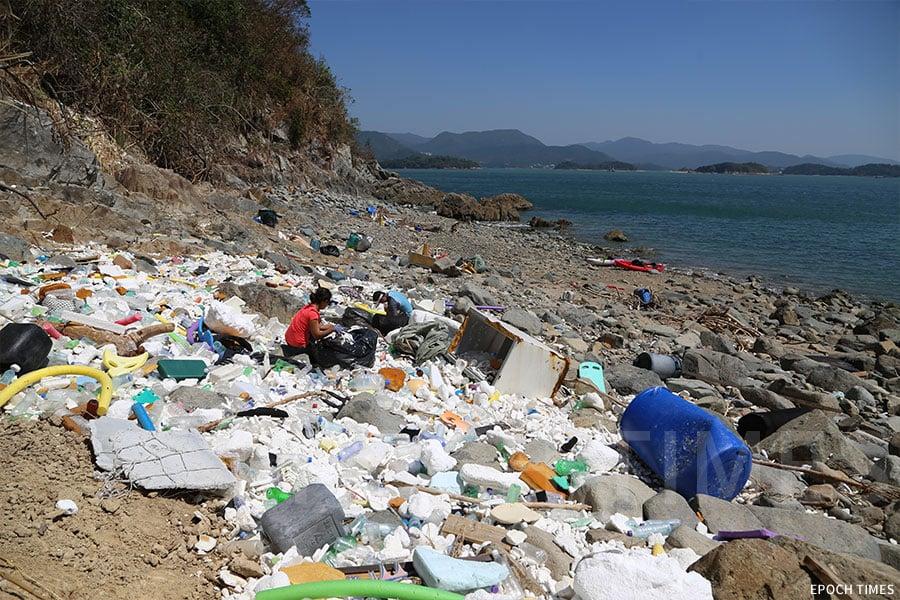 Kitti身體力行清理海洋垃圾。(陳仲明/大紀元)