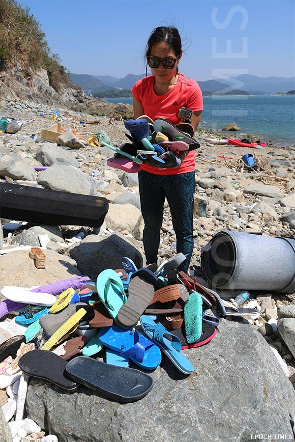 Kitti持續關注當前海洋環境受到的威脅,划艇到西貢不同的小島,執拾塑膠、發泡膠等海洋垃圾。(陳仲明/大紀元)