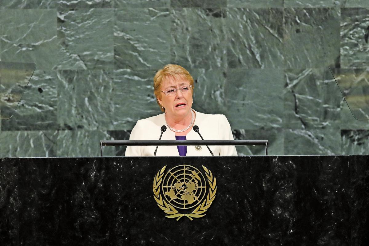 圖為2017年9月20日,巴切萊特在聯合國總部發言。(Getty Images)