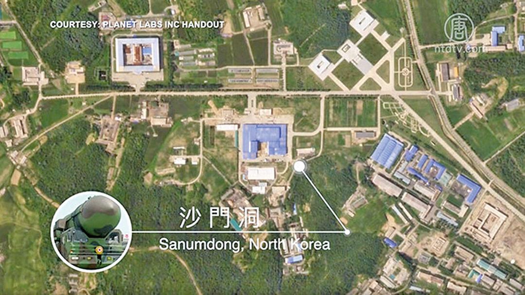 圖為北韓沙門洞導彈工廠。(新唐人影片截圖)