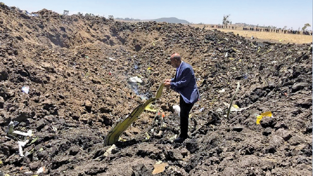 埃塞俄比亞航空客機墜毀,157人全部遇難。(AFP)