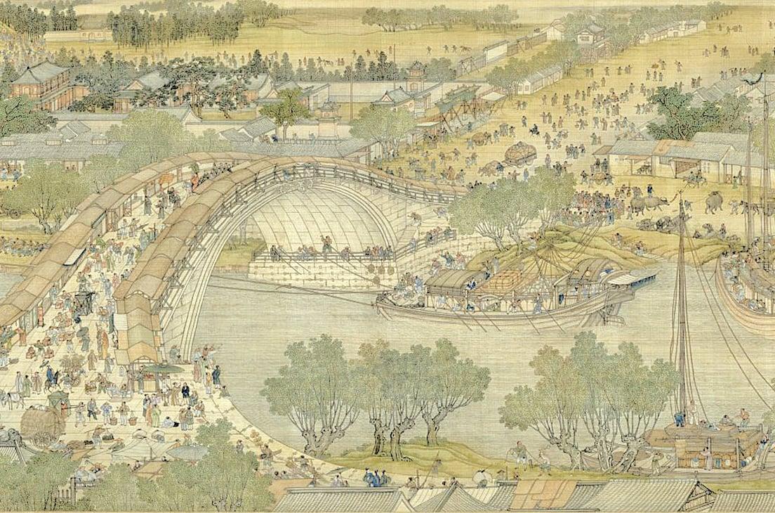 青山茅屋,小橋流水(公有領域)