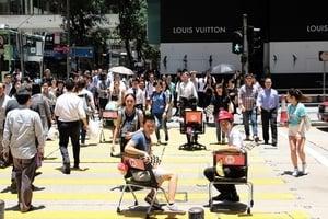 團體中環辦障礙賽 行人擠塞黑點現形