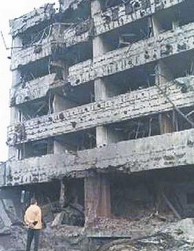 圖為被炸毀的中共駐南斯拉夫大使館。(網絡圖片)