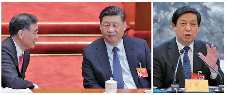 3月5日的中共全國人大會議上,汪洋(左)和習近平(中)在交談。(Getty Images)右為栗戰書。(網絡圖片)