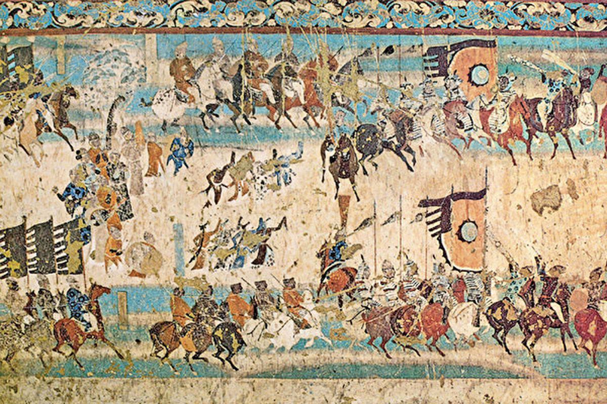 敦煌晚唐壁畫《張義潮統軍出行圖》。(公有領域)