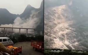 桂林貴廣高鐵附近大面積山崩 影片曝光