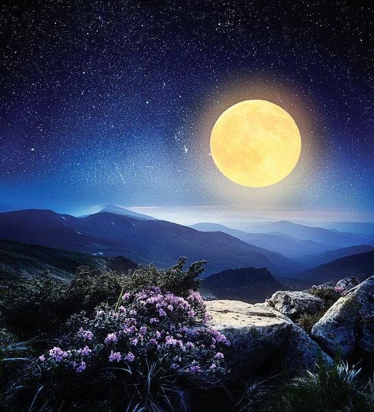 山中偶遇 修鑿月亮的仙人
