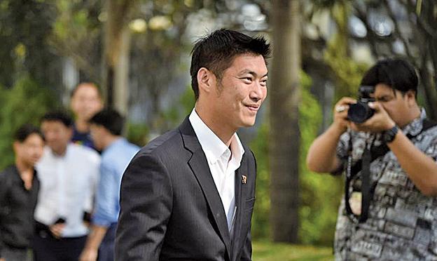 圖為泰國未來前進黨領袖塔納通(Thanathorn Juangroongruangkit)。(AFP)