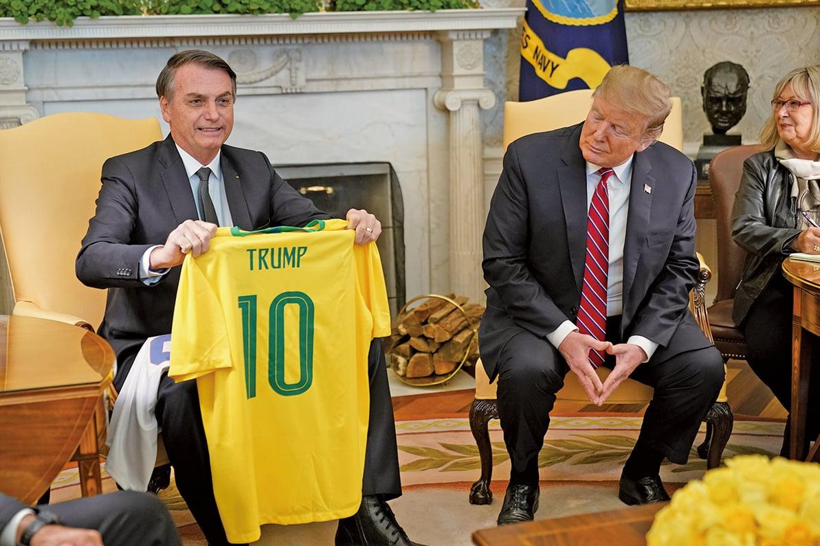 3月19日,美國總統特朗普與巴西總統博索納羅(Jair Bolsonaro)進行首次會晤。博索納羅表示認同並支持特朗普的邊境牆和移民政策。(AFP)