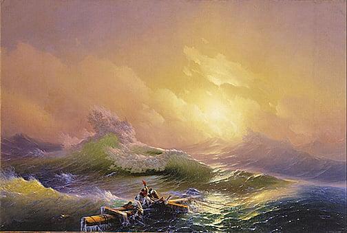 一道刺眼的白光向他們射來,湖水劇烈晃動,耳邊傳來刺耳的怪聲。圖為艾瓦佐夫斯基(Hovhannes Aivazovsky)油畫。示意圖。(公有領域)