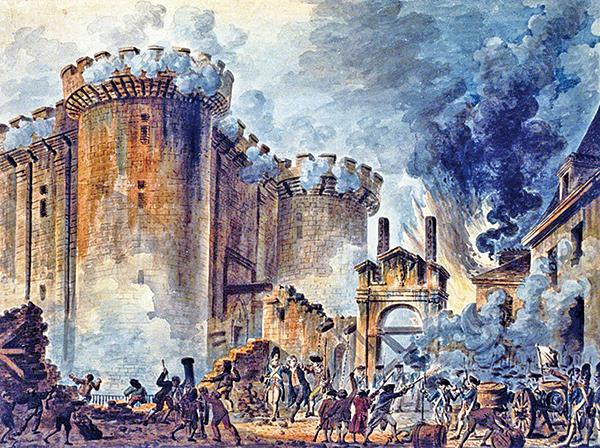 法國畫家讓-皮埃爾.胡埃(Jean-PierreHouel)的畫作,描繪了1789年法國大革命之初巴士底監獄被攻佔的場面。(公有領域)
