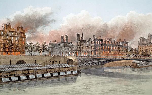 攝影師EugeneAppert用蒙太奇手法記錄了1871年3月18日巴黎公社焚燬巴黎市政廳及周邊建築的照片。(artips)