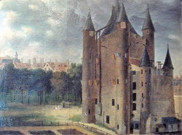 聖殿塔(TourduTemple)是巴黎歷史上的一座中世紀堡壘,在法國大革命期間曾用作關押路易十六的監獄,古堡建築也遭巴黎公社摧毀。約1798年所繪。(公有領域)