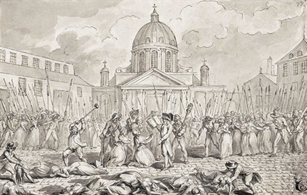 1792年,雅各賓派主導的巴黎公社製造的巴黎九月屠殺。(公有領域)