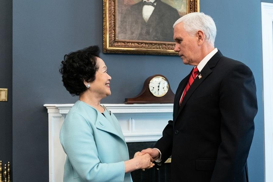 美國副總統彭斯接見陳方安生 關注港人權自由