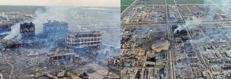 從爆炸現場航拍畫面看,江蘇響水縣化工廠爆炸核心區一片廢墟。(Getty Images)