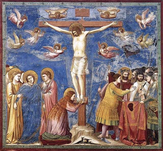 斯克羅維尼禮拜堂中第35幅壁畫《耶穌受難圖》。(公共領域)