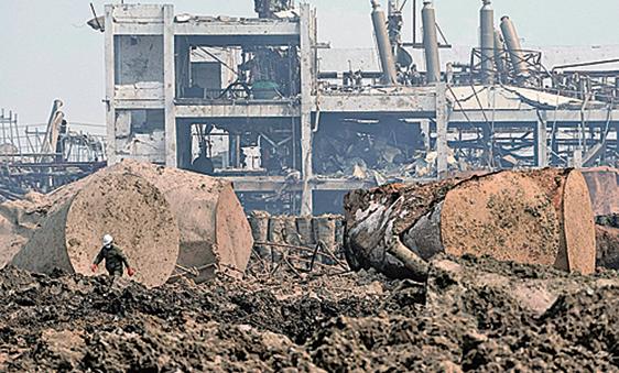 江蘇鹽城響水縣天嘉宜化工有限公司化學儲罐發生爆炸,現場一片狼藉。( 大紀元資料室)
