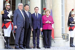 習近平巴黎會三領袖 歐盟重申貿易對等