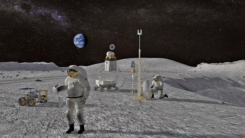 美國副總統彭斯在3月26日宣佈,美國太空人將在5年內重返月球。圖為太空人登月的示意圖。(NASA)