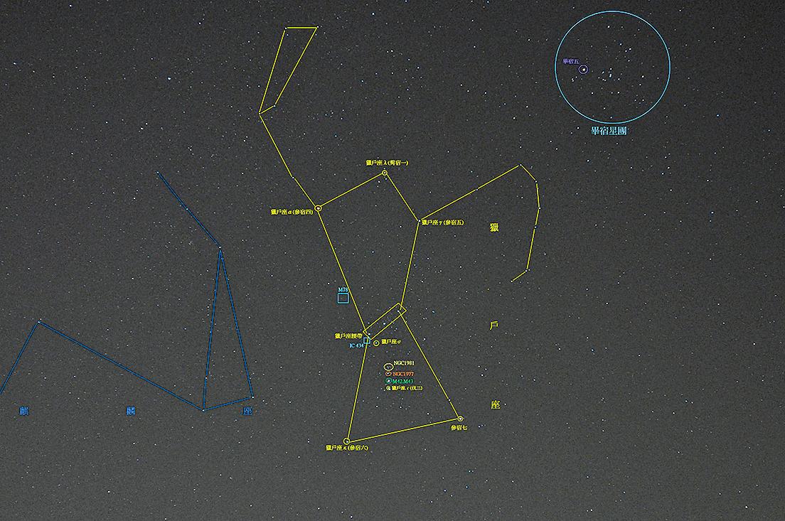 台灣夜空中,獵戶座與其周邊星座星相照,中間可以看到獵戶座的參宿三星,右上方為金牛座的畢宿星團(阿爾特斯/Wikimedia Commons)