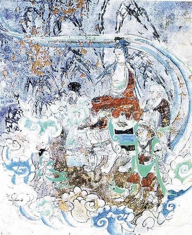 敦煌壁畫中的唐僧禮佛圖。(維基百科公共領域)