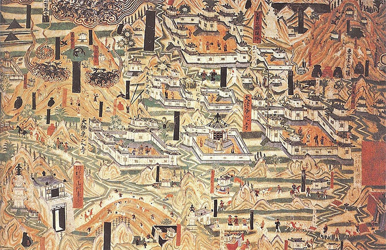 莫高窟的建築千年有餘,是一座中國歷史上最輝煌的「美術館」,也是一片世界上規模最大、內容最豐富的佛教藝術淨土。圖為莫高窟第61窟畫像。(維基百科公共領域)