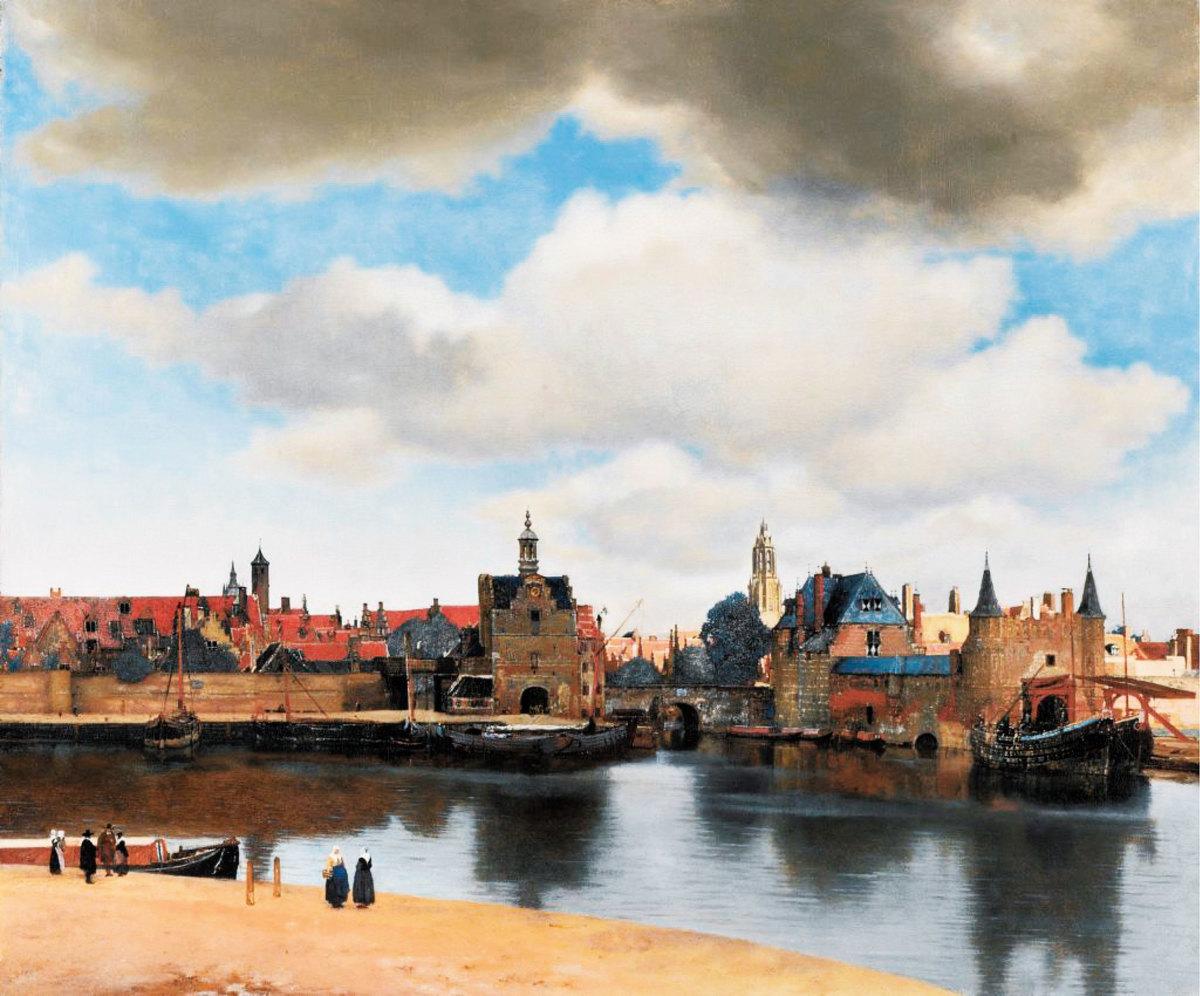 維米爾畫筆下的代爾夫特(Delft)小城風光,布面油畫,1660~1661年作,荷蘭海牙莫瑞泰斯皇家美術館藏。