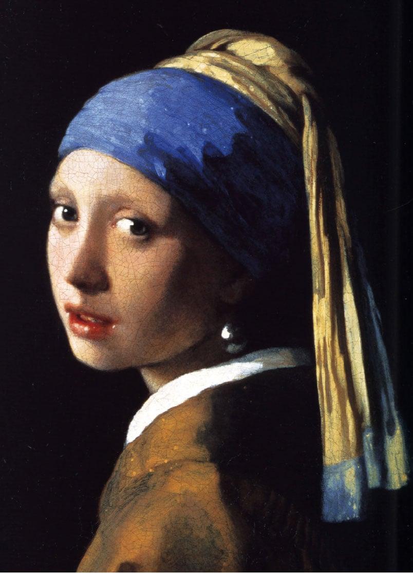 維米爾《戴珍珠耳環的少女》,布面油畫,約1665年作,荷蘭海牙莫瑞泰斯皇家美術館藏。