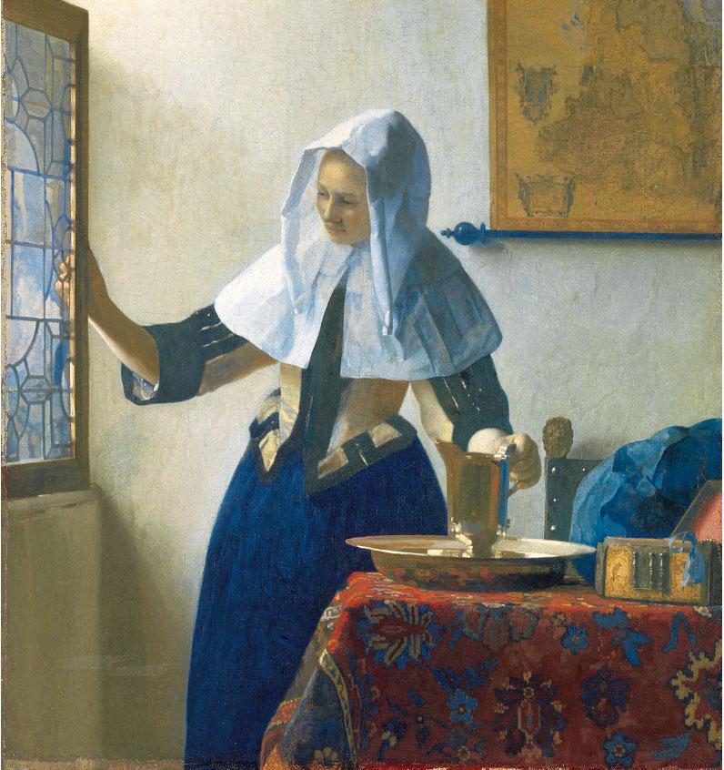 維米爾,《拿水壺的少婦》,作於1660~1662年,布面油畫,紐約大都會藝術博物館藏。