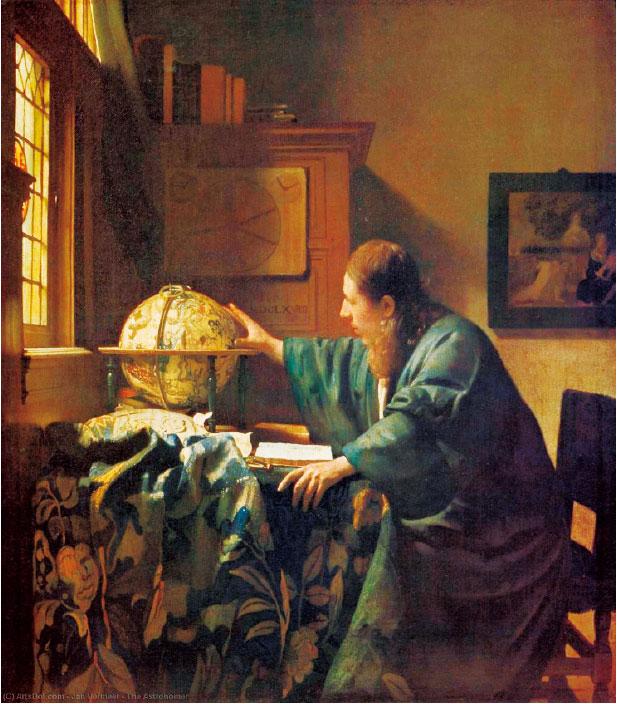 維米爾,《天文學家》,作於1668年,布面油畫。此畫一度被希特勒佔有,現藏羅浮宮。