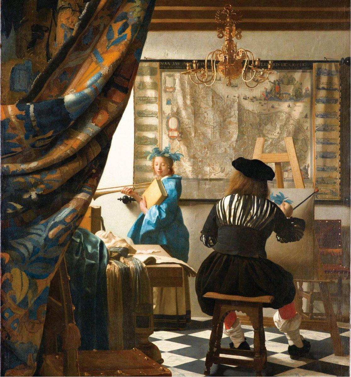 維米爾,《繪畫的寓言》(又名《畫室》),作於1665~1667年,布面油畫,此畫一度被希特勒佔有,現藏維也納藝術史博物館。