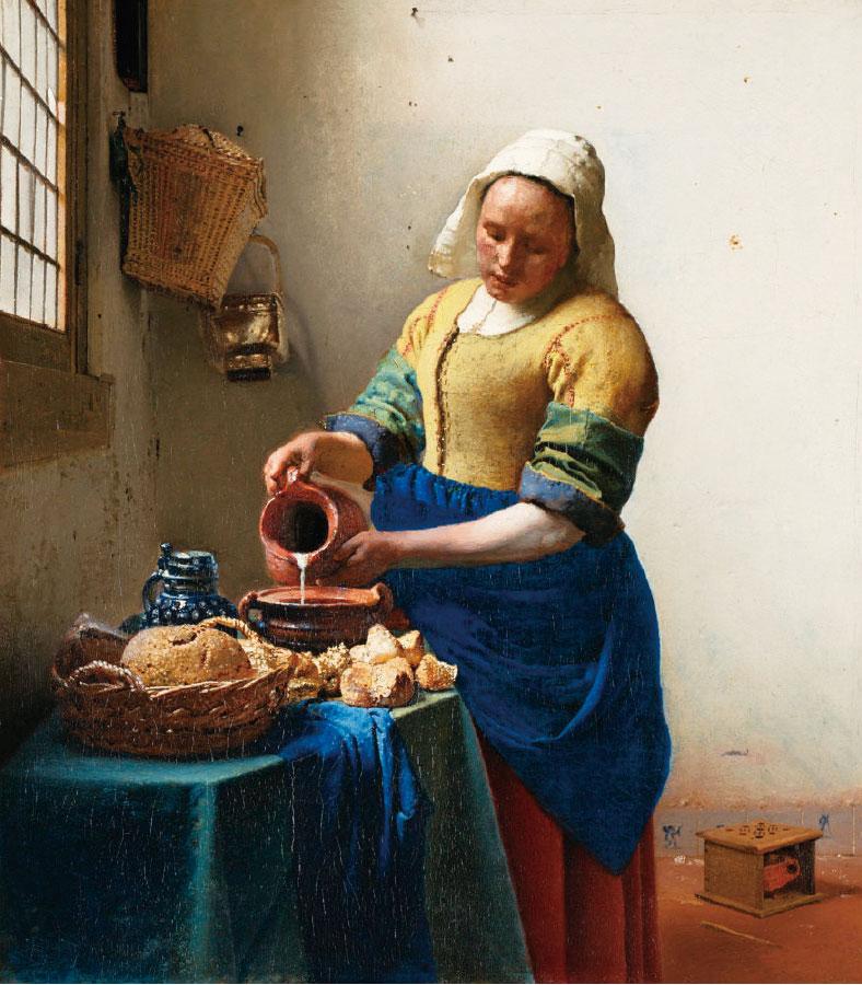 維米爾,《倒牛奶的女僕》,約作於1658~1660年,布面油畫,荷蘭國家博物館藏。