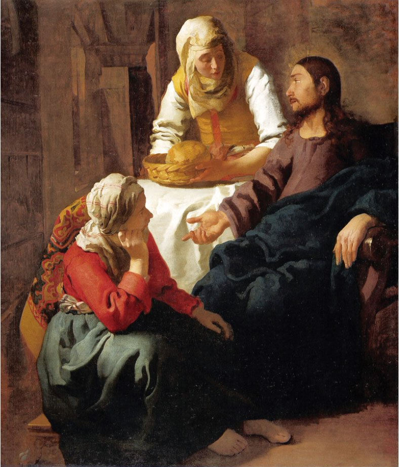 維米爾,《基督在馬大和馬利亞家》,約作於1655年,布面油畫,蘇格蘭國家畫廊藏。