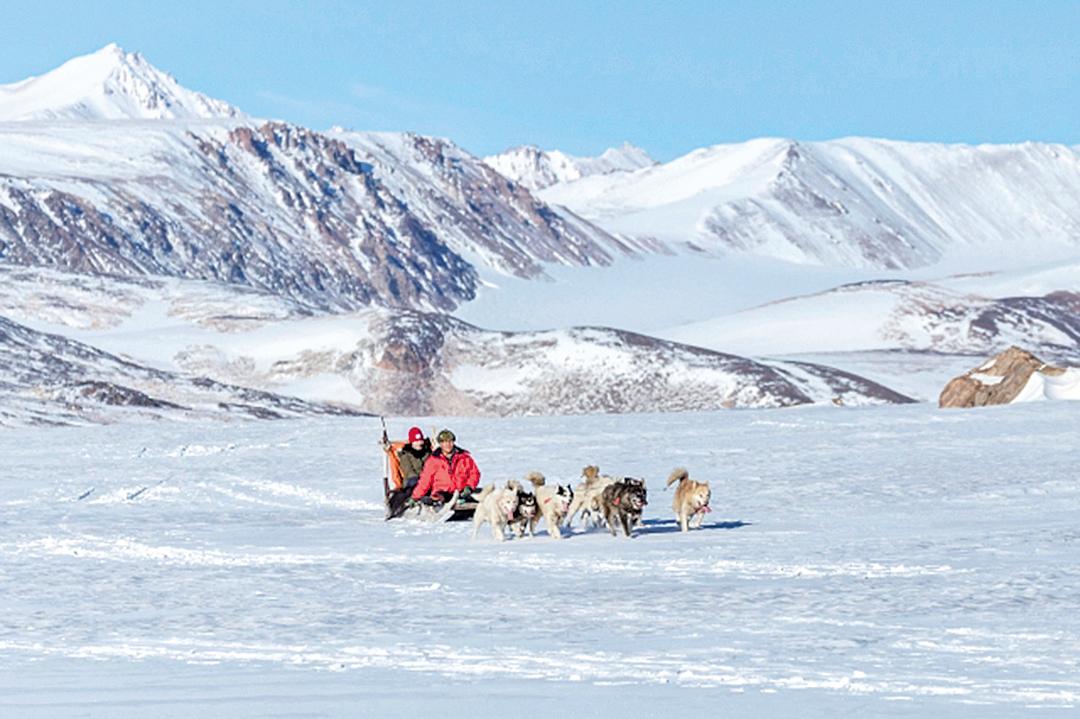 在依特克特米,可以和雪橇犬滑雪同樂。
