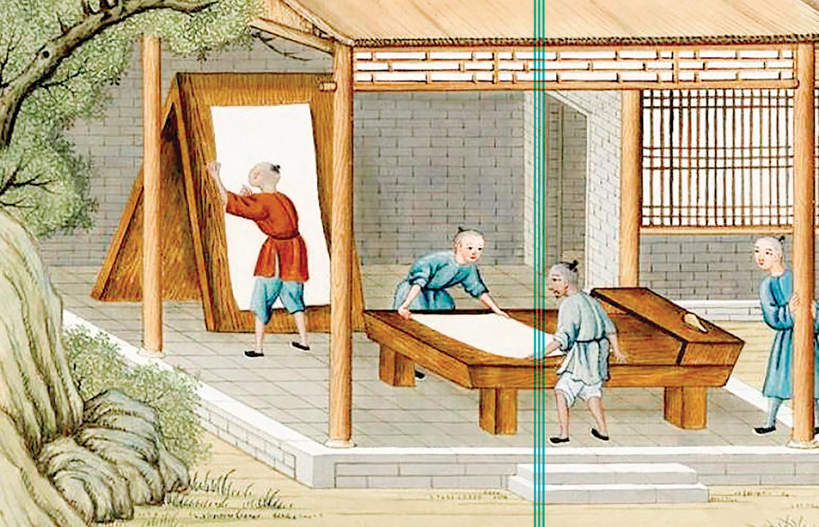 圖為乾隆年間法國傳教士蔣友仁所繪水彩圖畫冊《中國造紙藝術》中歸整刀紙的場景。(公有領域)