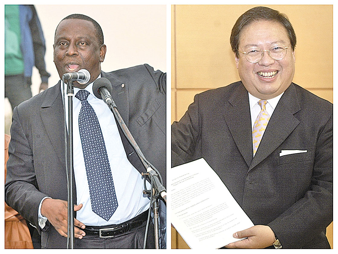 根據塞內加爾前外交部長加迪奧(左)的證詞,何志平(右)曾告訴他,作為石油交易的一部份,中國華信能源有限公司可以向乍得提供武器和軍備。 (大紀元合成圖片)