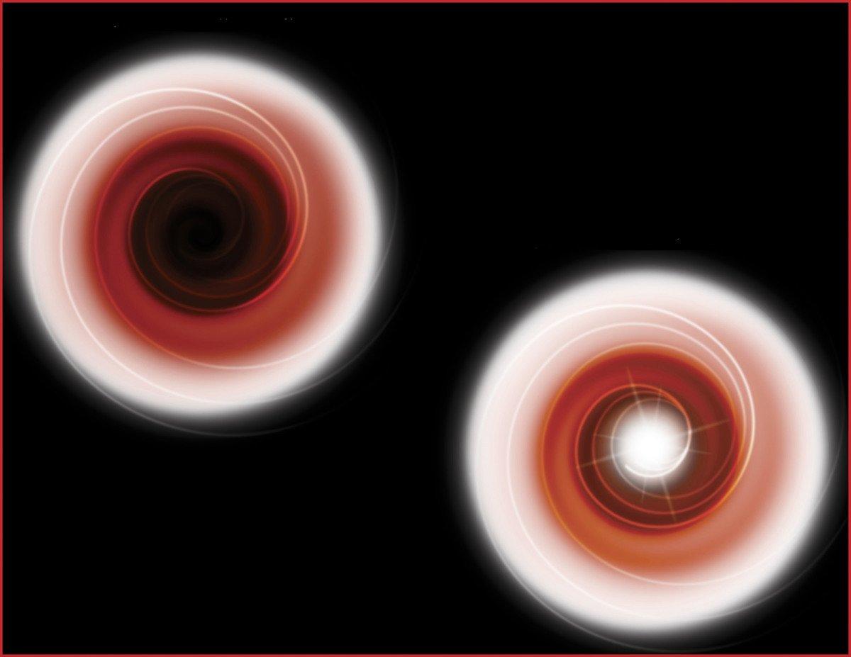 左圖:來自伴星的氣體被引力以旋轉模式吸引到黑洞上。右圖:來自伴星的氣體流向塌縮的恒星。(NASA/Newsmakers)
