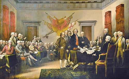 約翰.特朗布爾(1756—1843)的畫作《獨立宣言》,描繪了1776年6月28日五人小組將《獨立宣言》上呈大陸會議的一幕。(公共領域)