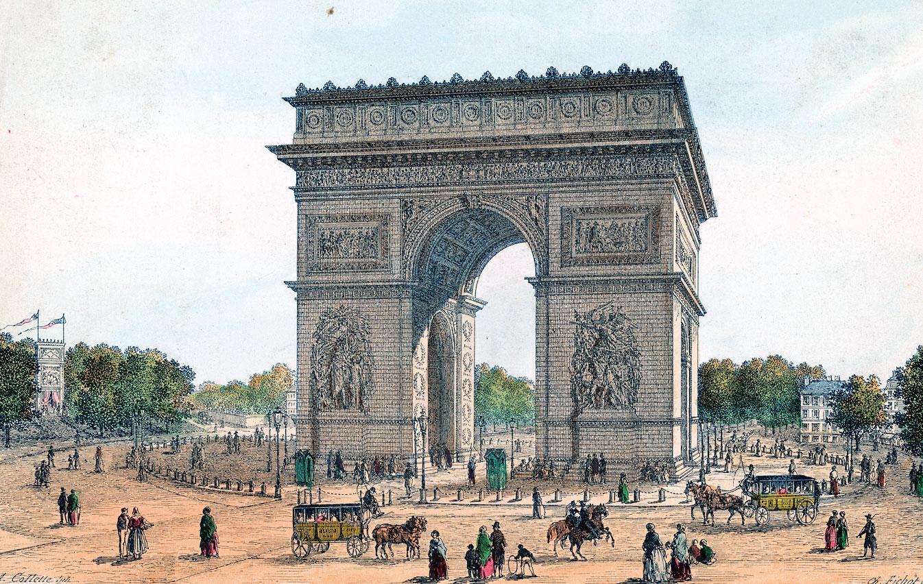 法國巴黎凱旋門手繪圖。(Hulton Archive/Getty Images)