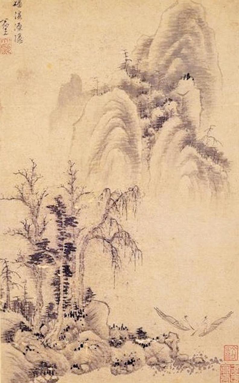 此畫題為「磻溪漁隱」,傳說為姜太公釣魚處。元.黃公望〈磻溪漁隱〉(國立故宮博物院)
