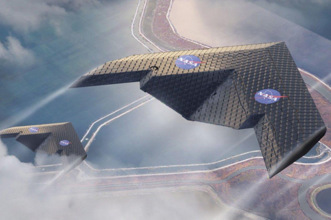 NASA與MIT合作開發一種可藉由變形來控制飛行的新型機翼。此為示意圖。(NASA)