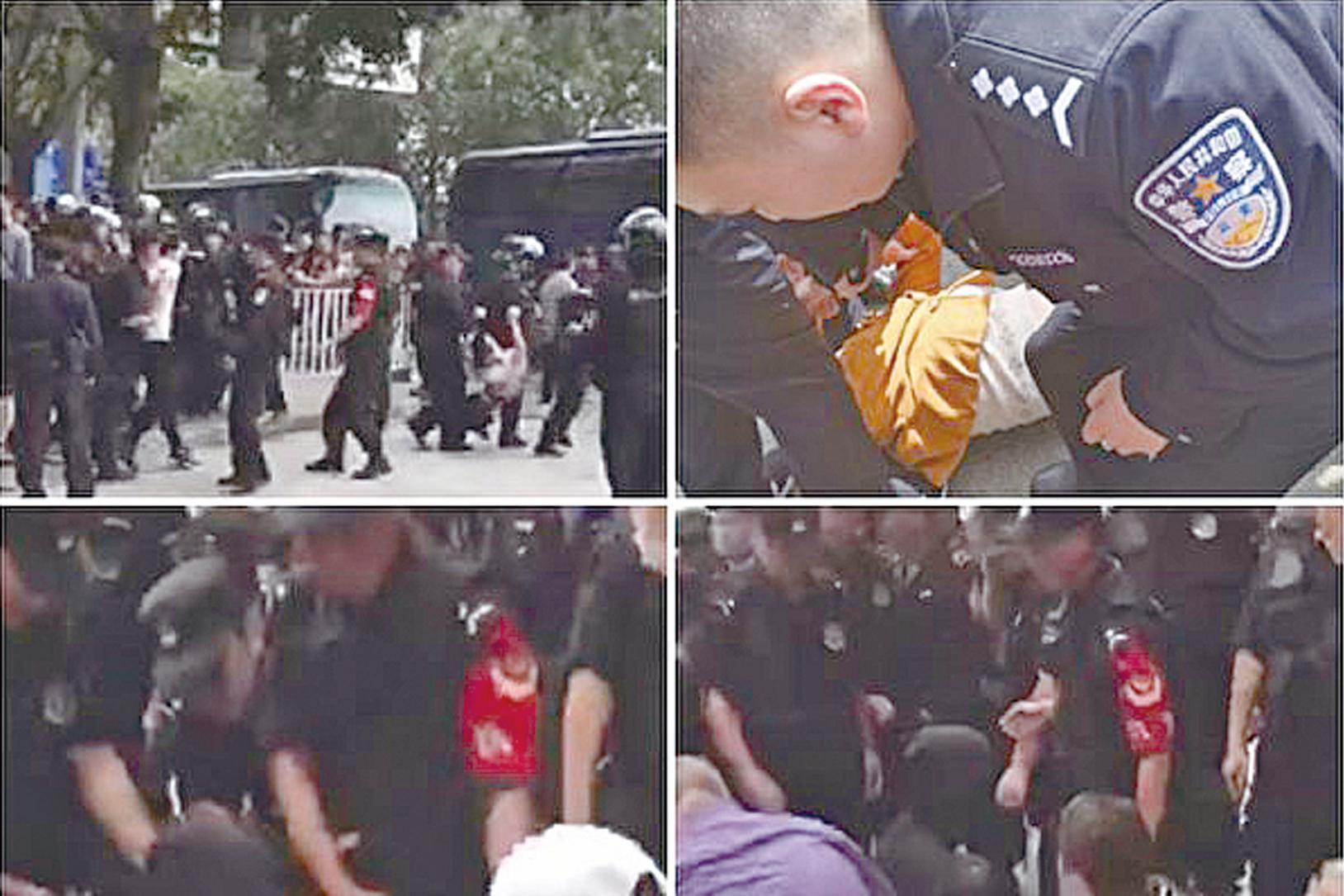 團貸網千名難友4月6日「東莞旅遊」維權遭特警打壓。(大紀元合成圖)