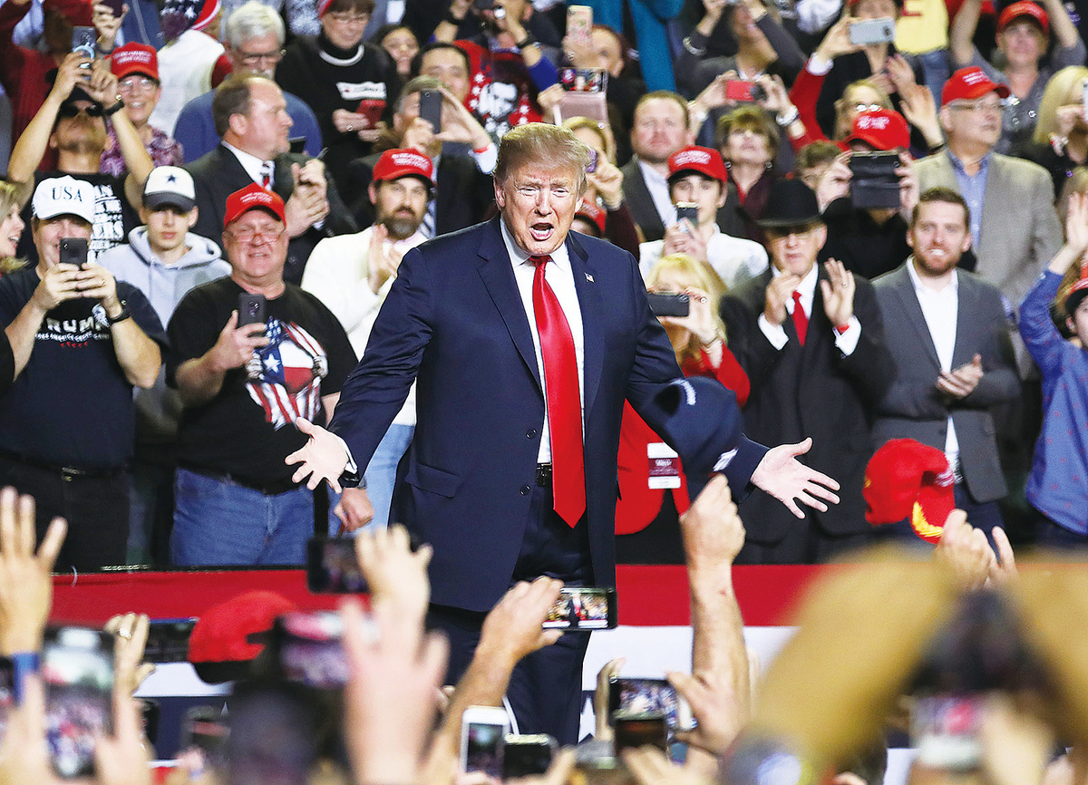 美國2020年總統提名競選中,參選的民主黨成員都有激進社會主義傾向。所以,尋求連任的特朗普和其團隊表示,他們會揭露社會主義的危害。圖為特朗普於今年2月11日 在美國埃爾帕索縣參加集會。(Getty Images)