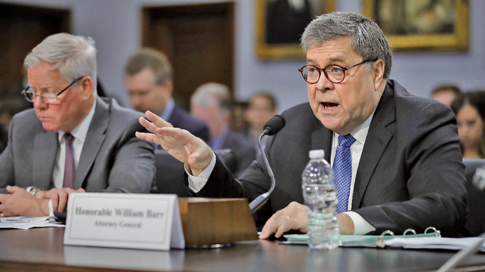 4月10日,美國司法部長巴爾(Bill Barr)赴參議院作證。(Getty Images)